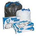 Pitt Plastics DT44K 40-45 Gallon Quick Draw Drawstring Can Liners - Black in Color - 37 x 46 - 1.2 Mil - 100 per case - Interleaved